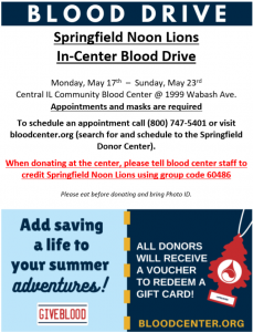 Lions Blood Bank Donation Week @ Central Illinois Community Blood Center